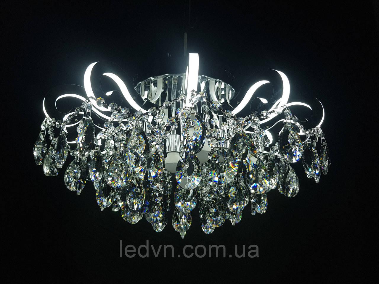 Кришталева люстра зі світними ріжками LED 4+12 65см діаметр срібло