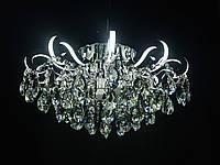Кришталева люстра зі світними ріжками LED 4+12 65см діаметр срібло, фото 1