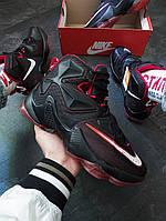 Мужские кроссовки Nike LeBron 13 Black Red (найк леброн 13, черные/красные)