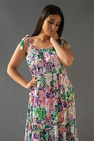 Летнее платье в пол из штапеля с кружевом, бретельки на завязках, цветочный принт (50-56)