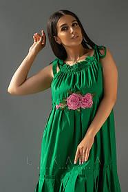 Летнее платье в пол из штапеля с кружевом, бретельки на завязках, вышитый цветок  (50-56)