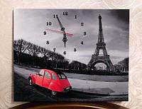 Картина часы на холсте Париж 37х41 см чёрно-белая с красным авто