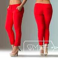 Брюки женские стильные летние батал, красные.  Арт-1716/41. Купить брюки больших размеров