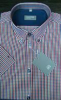 Рубашка мужская в сине-бордовую клеточку короткий рукав