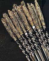 """Шампура ручной работы с головами животных """"Wildness"""" в колчане из кожи, 12шт (серьёзный подарок мужчине)"""