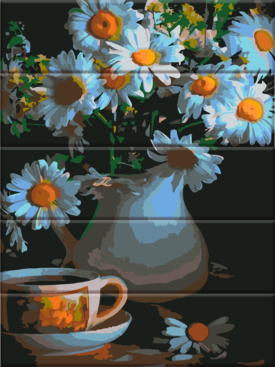 "Картина по номерам на дереве ""Ромашки в вазе"" 30*40 см"