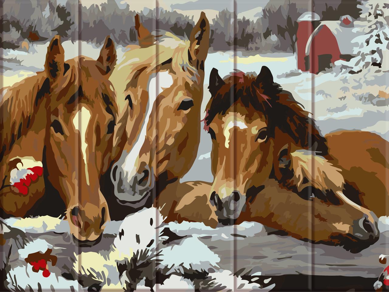 """Картина по номерам на дереве """"Лошади"""" 30*40 см"""