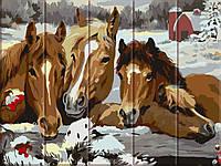 "Картина по номерам на дереве ""Лошади"" 30*40 см, фото 1"