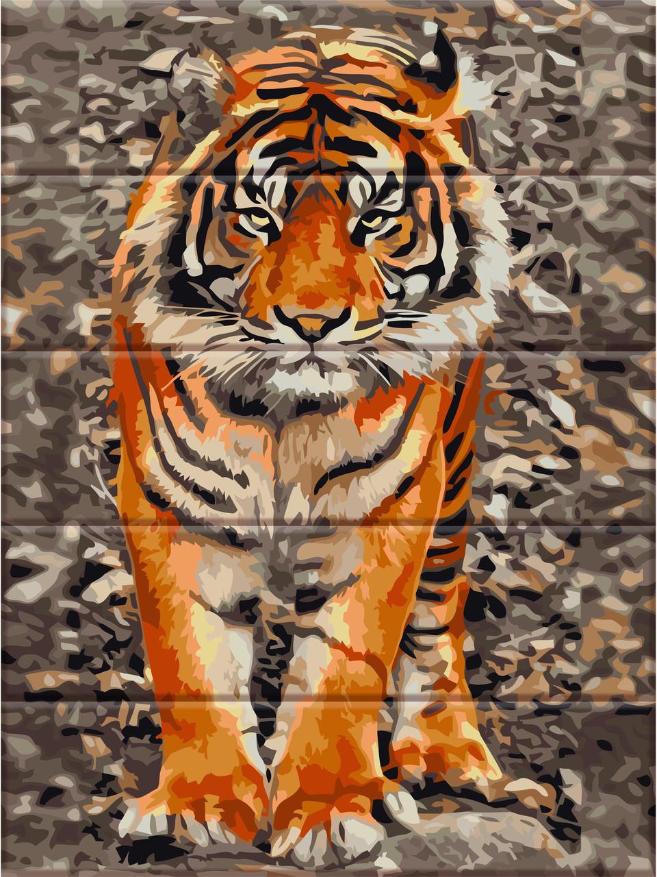 "Картина по номерам на дереве ""Уссурийский тигр"" 30*40 см ..."