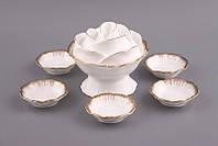 """Набор для варенья на 6 персоны, 7 предметов """"Лепестки розы"""" фарфоровый, белый с золотистым, фото 1"""