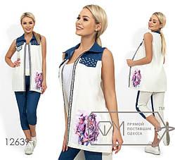 Модный молодёжный костюм  с жилетом лён+джинс S, M, L, фото 2