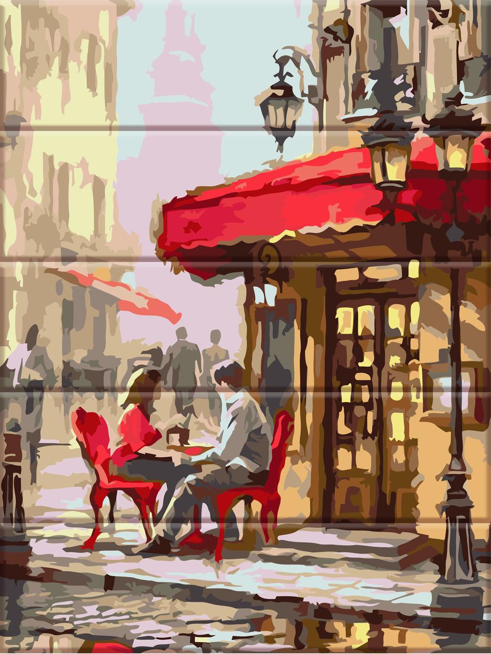 "Картина по номерам на дереве ""Уличное кафе"" 30*40 см"