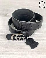 Женский кожаный ремень черного цвета