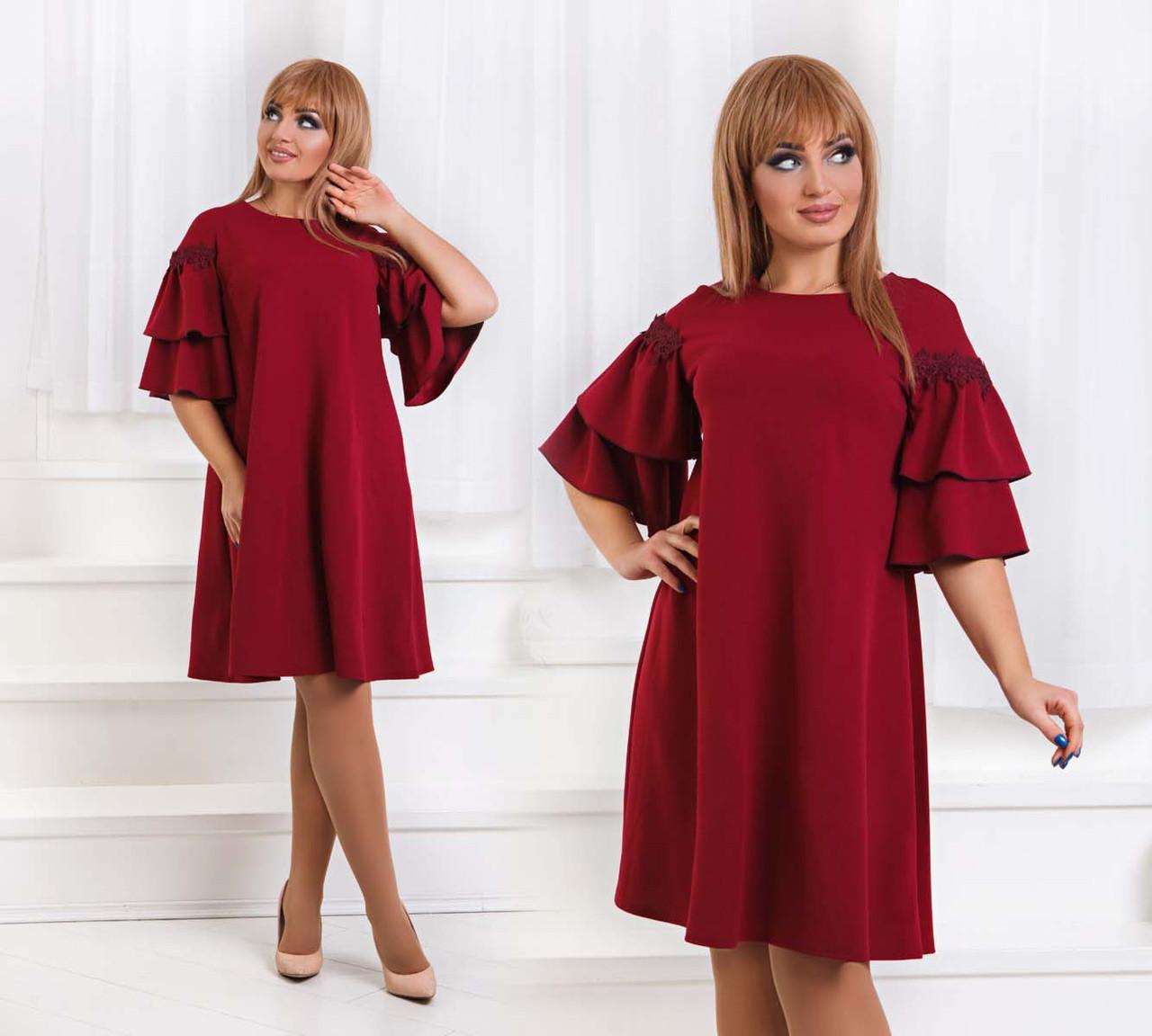 """Элегантное нарядное женское платье в больших размерах """"Креп Рукава Воланы Мулине"""" в расцветках (DG-ат1183)"""