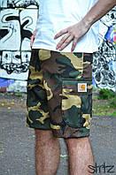 Мужские шорты/бриджи/капри карго с карманами сбоку камуфляж кархарт (Carhartt), копия