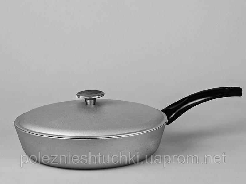 Сковорода алюминиевая с утолщенным дном 26 см. с крышкой
