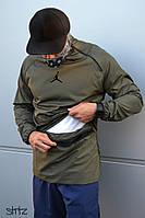 Мужской анорак/ветровка/куртка без застежки/молнии джордан (Jordan 23), цвета хаки реплика, фото 1