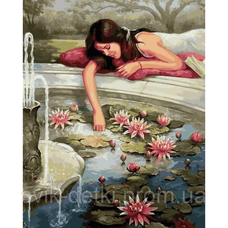картина по номерам картина раскраска фонтан с лотосами 40х50см Vp674