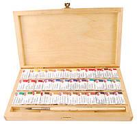 Подарочный набор акварельных красок в березовой коробке, Белые Ночи (36 кюветов)