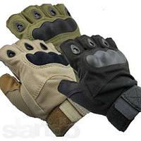 Перчатки тактические oakley. Чёрные, оливковые и песочные. Беспалые