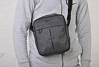 Сумка через плечо мужская серая текстиль найки/Nike реплика, фото 1