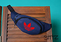 Практичная  сумка на пояс/бананка адидас Adidas, синяя реплика