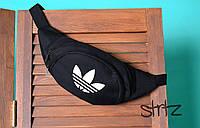 Черная молодежная сумка на пояс бананка адидас Adidas реплика, фото 1