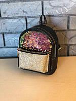 Женский маленький городской рюкзак пайетки/блестки/паетки, кожзам, черный, фото 1