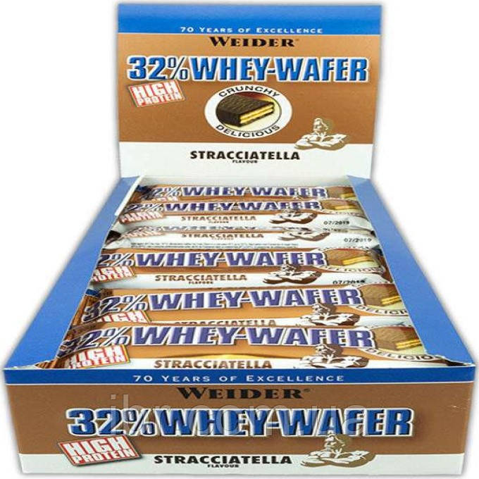 Протеиновый батончик WEIDER 32% WHEY-WAFER 35 g Stracciatella 24 шт