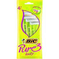 Женский одноразовый станок BiC Pure 3. В упаковке 4 шт.