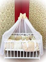 Детское постельное белье в кроватку ТМ Bonna Elite Бежевый горох
