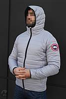 Мужская зимняя стеганая короткая куртка/пуховик на флисе канада/Canada Goose реплика, фото 1