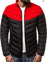 Мужская теплая стеганая куртка/пуховик черно-красная без капюшона, фото 1