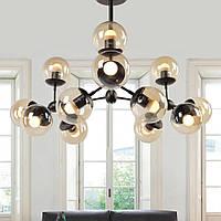 Мега модная люстра, стильный подвесной светильник на 12 круглых плафона шара с черным основанием Sirius
