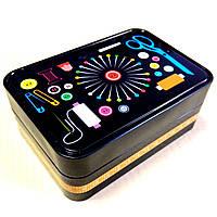 Металлическая шкатулка для рукоделия (бокс для швейных принадлежностей) черная