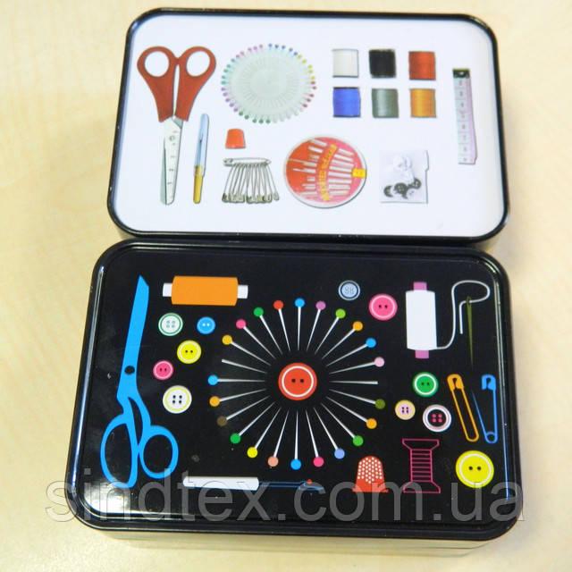 Металлическая шкатулка для рукоделия (бокс для швейных принадлежностей) черный