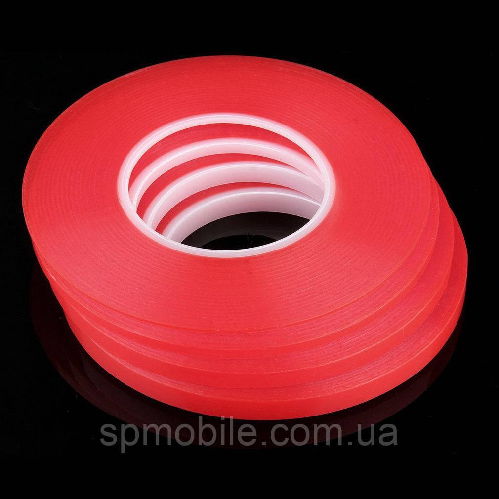 Скотч двосторонній 3m 10мм червоний акриловий довжина 50м