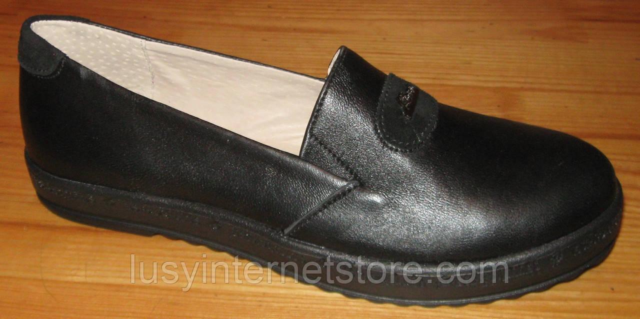 Туфли черные женские кожаные на среднюю ногу от производителя модель НТ5Р