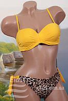 Женский леопардовый купальник раздельный - М (44р.) бюст 88-90см, бедра 90-94см, 80% нейлон, 20% эластан