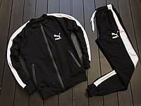 Мужской спортивный костюм пума/Puma с лампасами/полосками без капюшона/бомбер