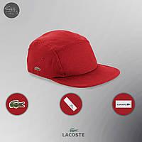 Мужская/женская красная пятипанельная кепка/пятиклинка/рэперка лакост/Lacoste с крокодилом реплика, фото 1