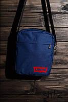 Мужская/женская сумка через плечо/мессенджер/барсетка левайс/Levis, синяя реплика, фото 1