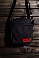 Мужская/женская сумка через плечо/мессенджер/барсетка левайс/Levis, черная реплика, фото 1