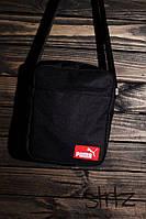 Мужская/женская сумка через плечо/мессенджер/барсетка пума/Puma, черная реплика, фото 1