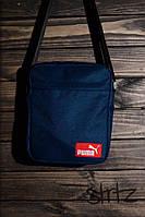 Мужская/женская сумка через плечо/мессенджер/барсетка пума/Puma, синяя реплика, фото 1