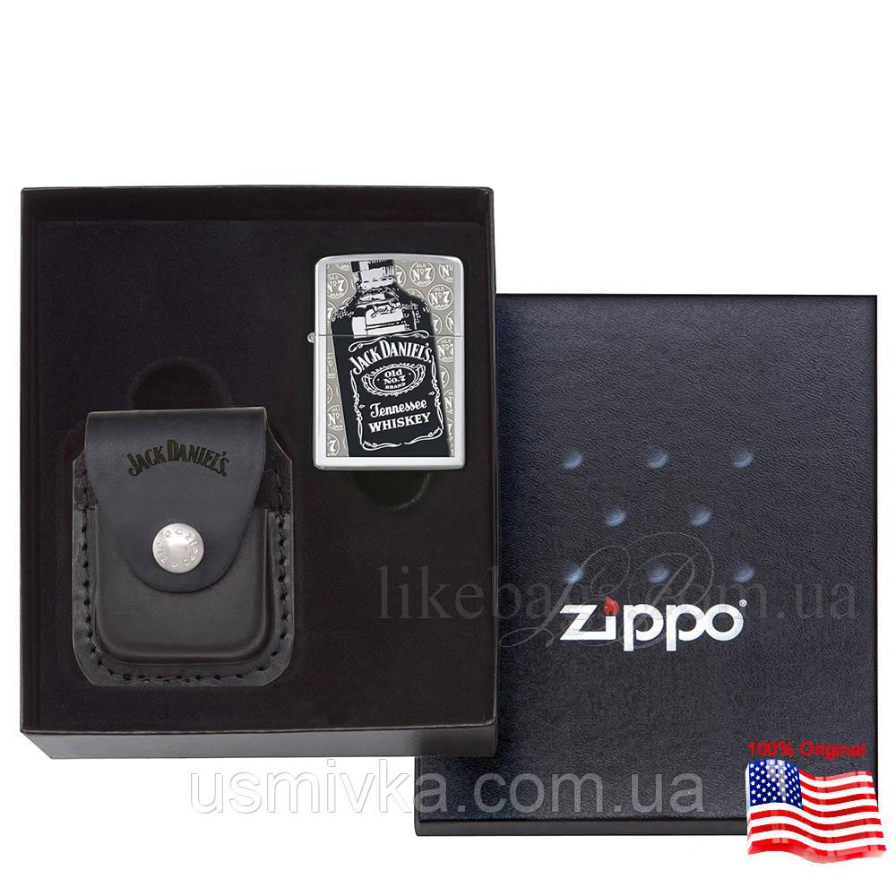Зажигалка Zippo 24707 Jack Daniels Pouch Set серая 24707