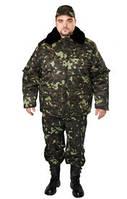 Бушлат камуфлированный,куртка зимняя с меховым воротником