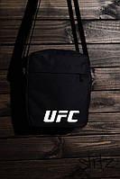 Мужская/женская сумка через плечо/мессенджер/барсетка юфси/UFC, черная реплика, фото 1