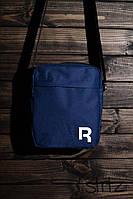 Мужская/женская текстильная сумка на плечо Reebok, синяя реплика, фото 1