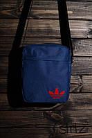 Тканевая мужская сумка через плечо/мессенджер/барсетка адидас/Adidas, синяя реплика